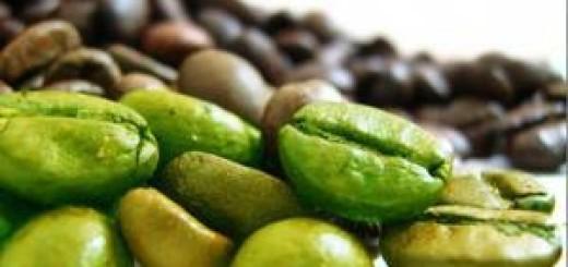 zrna zelene kavy